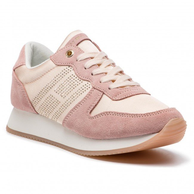 61404f79dfd Tommy Hilfiger Sparkle Satin City Sneaker FW0FW03991 658 Silver Peony