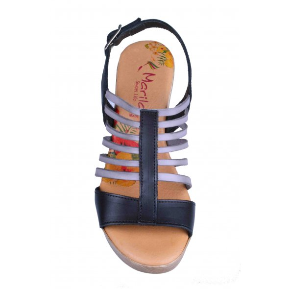 cec66d0c62f Γυναικεια Πεδιλα Marila Shoes 748-6020-29 Μαυρο/Γκρι | Apostolidis Shoes